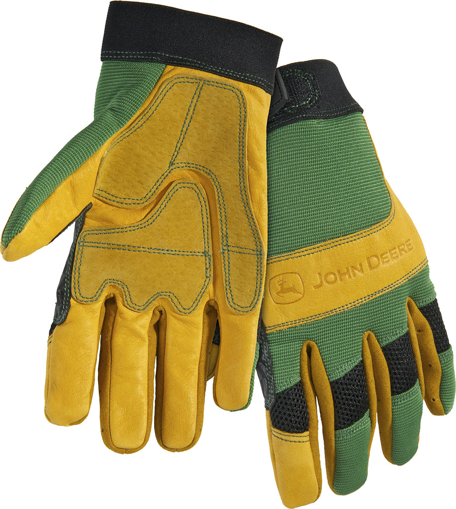 Men's John Deere Cowhide Work Gloves with Spandex Back (Green/Tan)(Large)