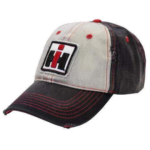 Youth Case IH Faded Black and Grey Distressed Logo Hat/Cap - 14IH066-YTH