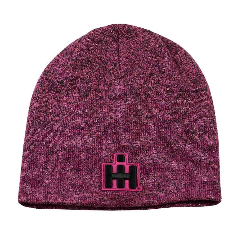 IH Women's Heathered Black/Pink Knit Beanie