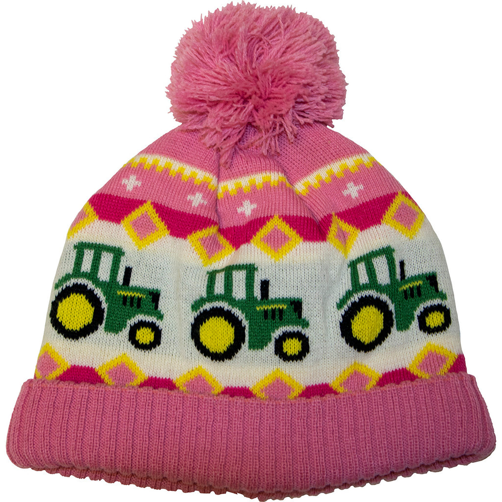 John Deere Girls Toddler Knit Beanie (Pink) - LP70707