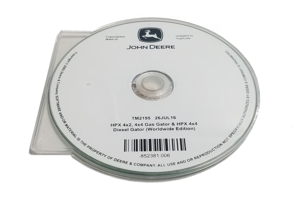 John Deere HPX4X2/4X4 GAS Gator/HPX 4X4 DIESEL Gator/ HPX4X2/HPX4X4/HPX Trail Technical CD Manual - TM2195CD