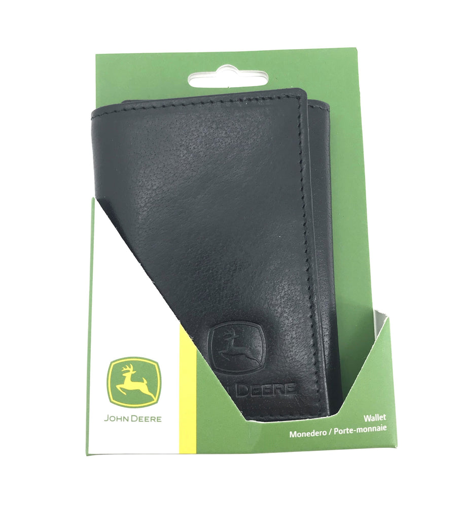 John Deere Men's Black Leather Tri-Fold Wallet - LP70601
