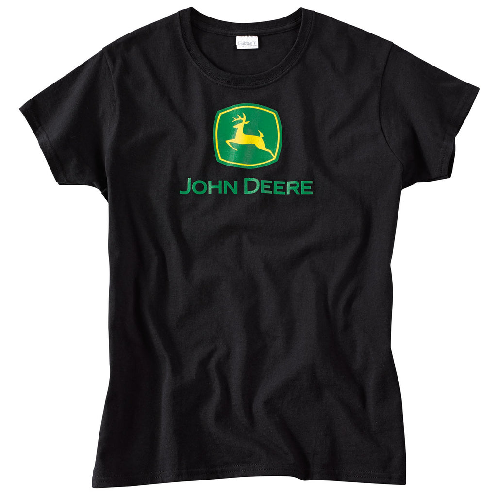 Ladies John Deere Logo Black T-Shirt (Large) - LP43298