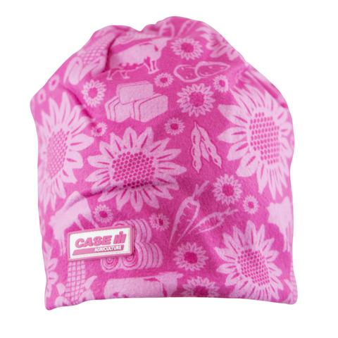 Case IH Youth Pink Farm Pattern Beanie - 16CIHK036-YTH