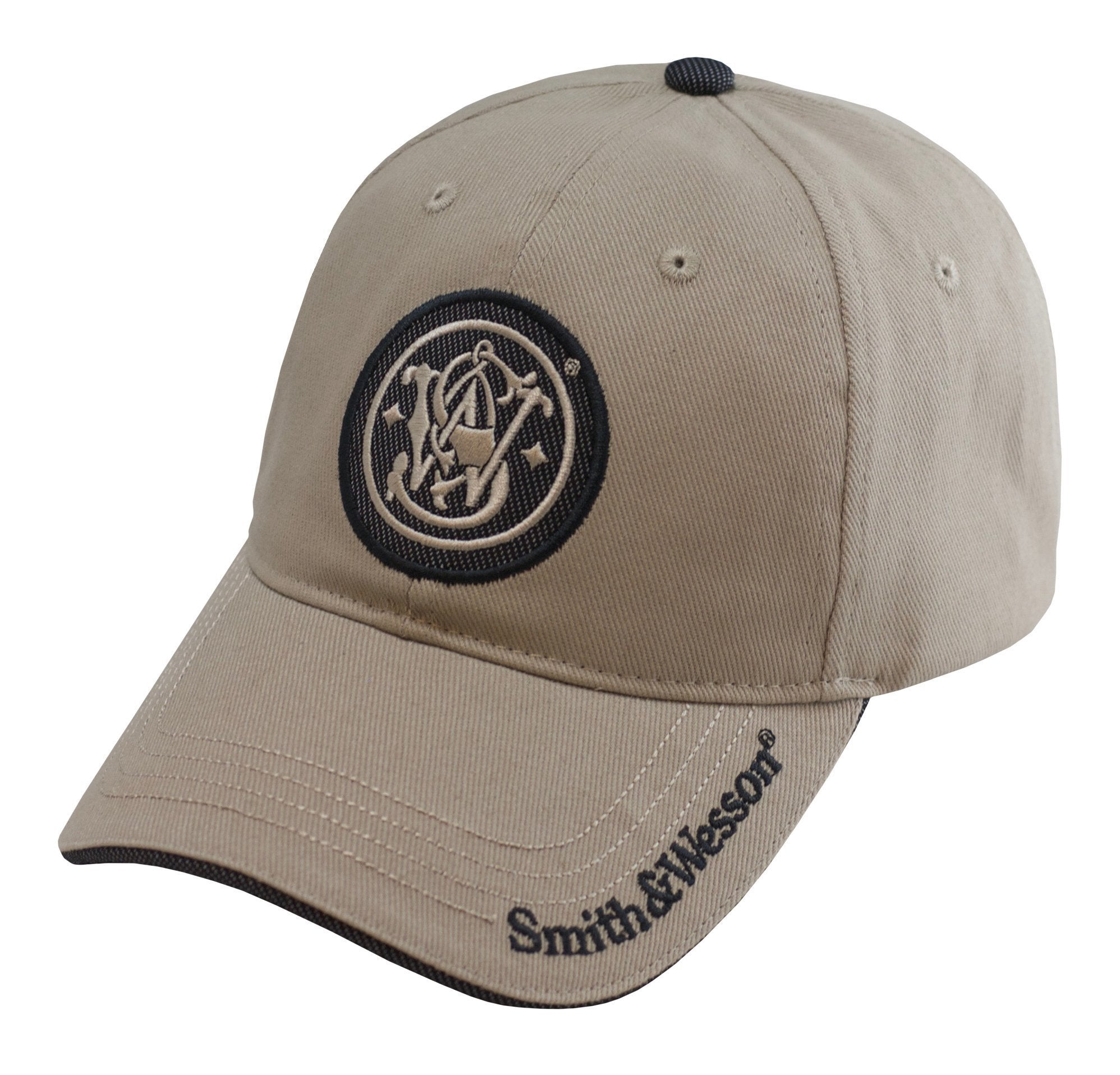 S&W Embroidered Circle Logo Cap with Brim Text - A1759