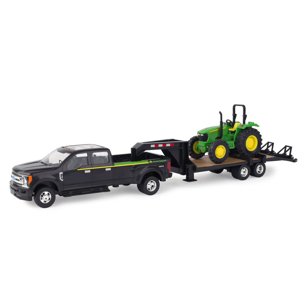 1/32 John Deere Ford F350 Pickup with 5075E Tractor & Trailer Toy Set - LP68113