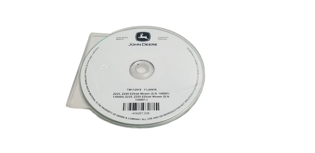 John Deere Z225 & Z245(100001-130000)/ Z235 & Z255 (130001-) Technical CD Manual - TM112919CD