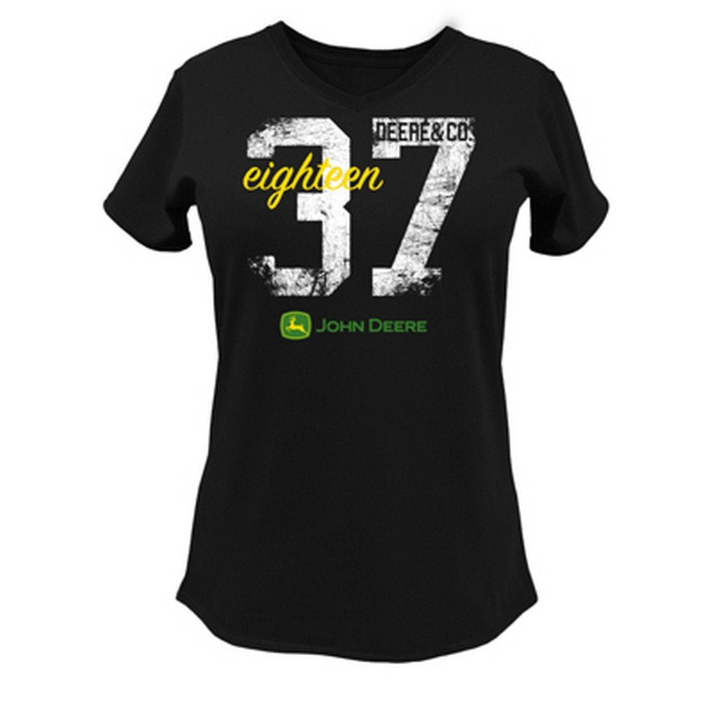 "Ladies John Deere ""Deere & Co. 1837"" Short Sleeve V-Neck Tee (Black)(MEDIUM) - LP48215"