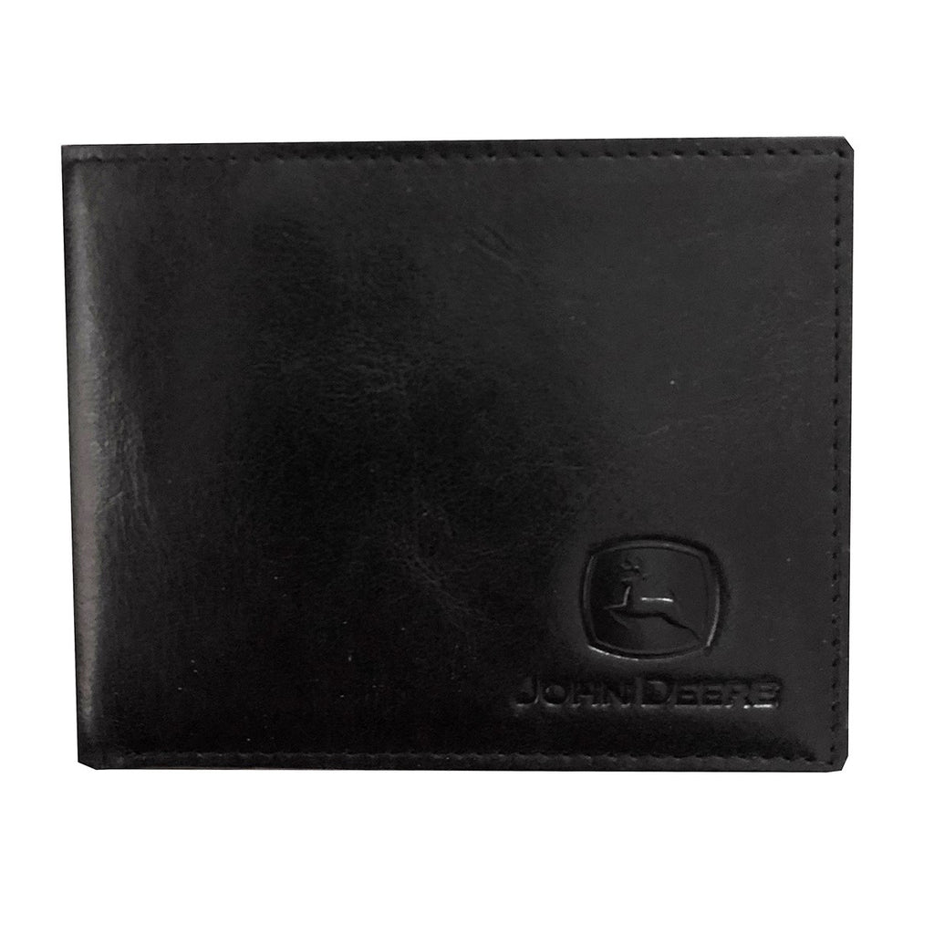John Deere Crunch Leather Bi-fold (Black) Wallet - LP70604