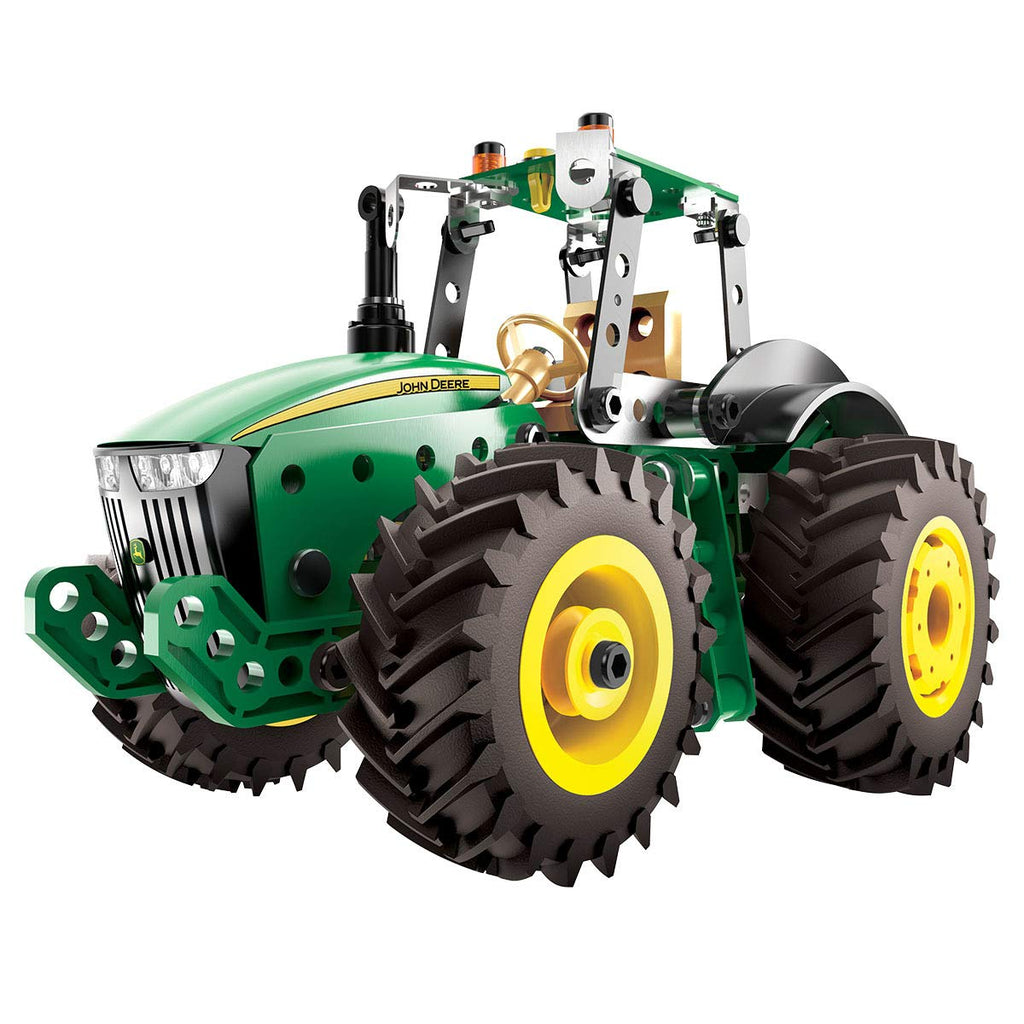 Meccano Erector John Deere 8R Tractor Building Kit with Working Wheels, STEM Engineering Education Toy for Ages 10 & Up