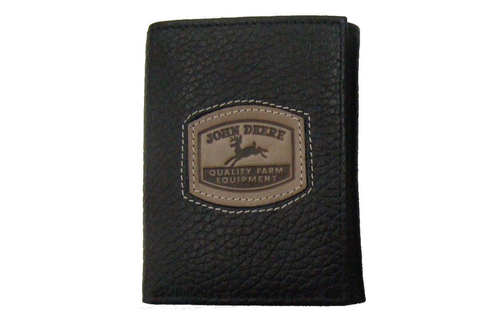 Men's John Deere Black Leather Trifold Wallet - LP35478