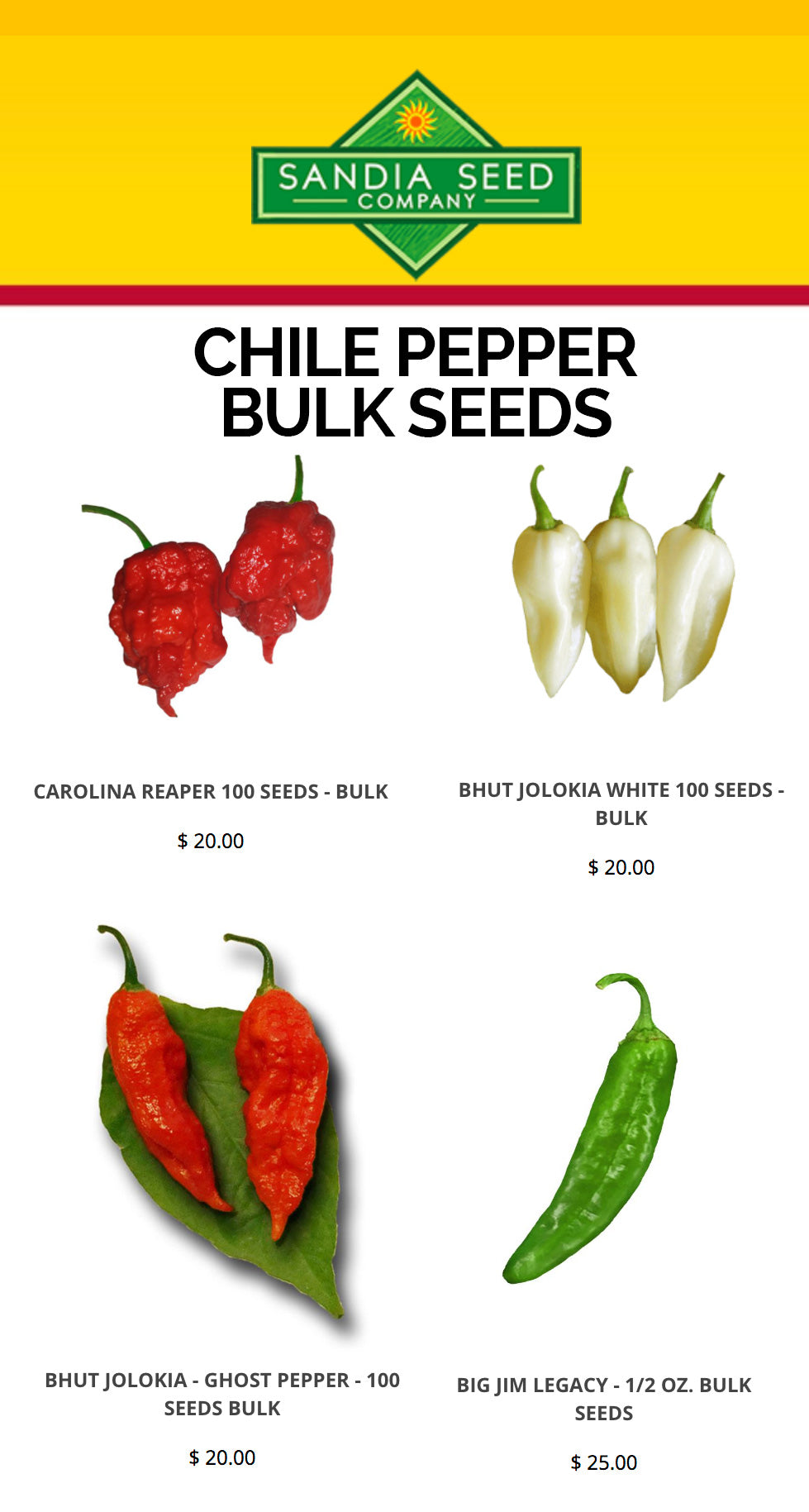 Bulk Seeds from Sandia Seed
