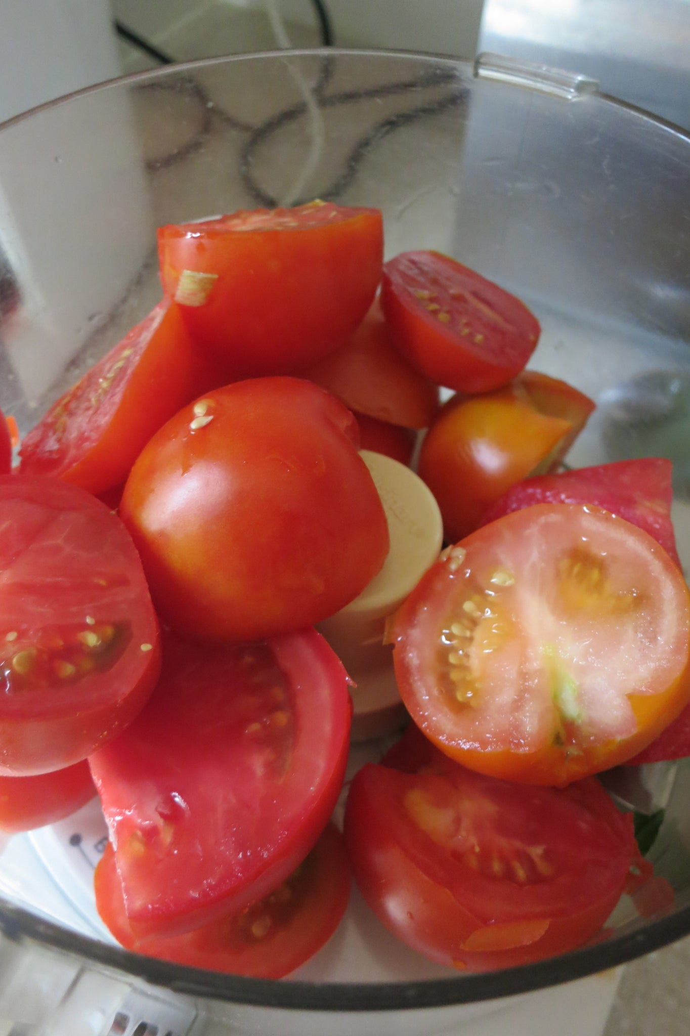Can you leave skin on tomatoes when making sauce? Process them in a food processor first.