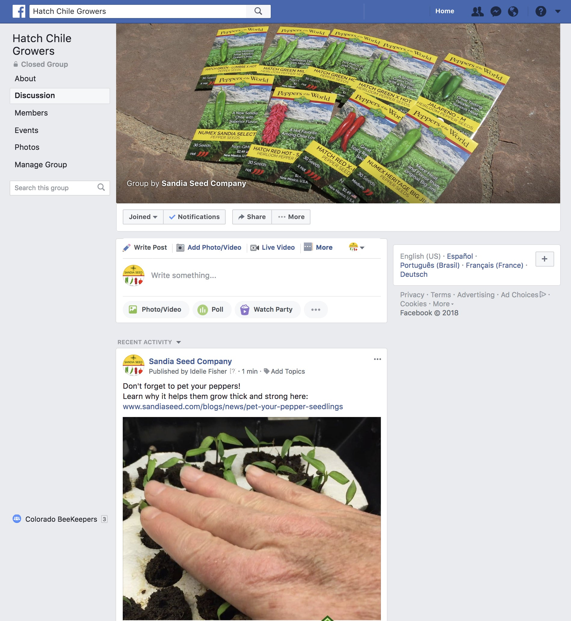 Hatch Chile Growers Group on Facebook