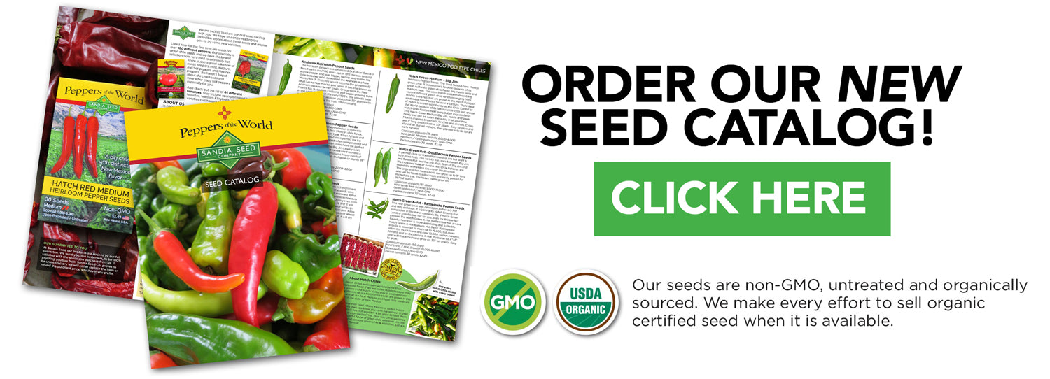 Best Seed Catalog – Sandia Seed's chile pepper and tomato seeds are non-GMO, untreated and organically sourced. We make every effort to sell organic certified seed  when it is available.