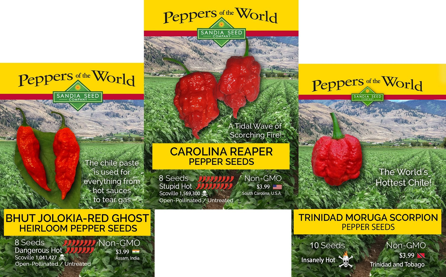 Where can I buy the hottest hot pepper seeds? SandiaSeed.com has 100s of peppers from around the world.
