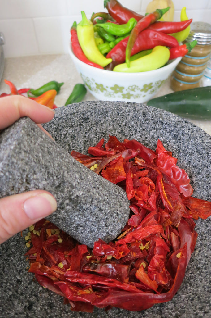 Molcajete for Salsa and Hot Pepper Flakes