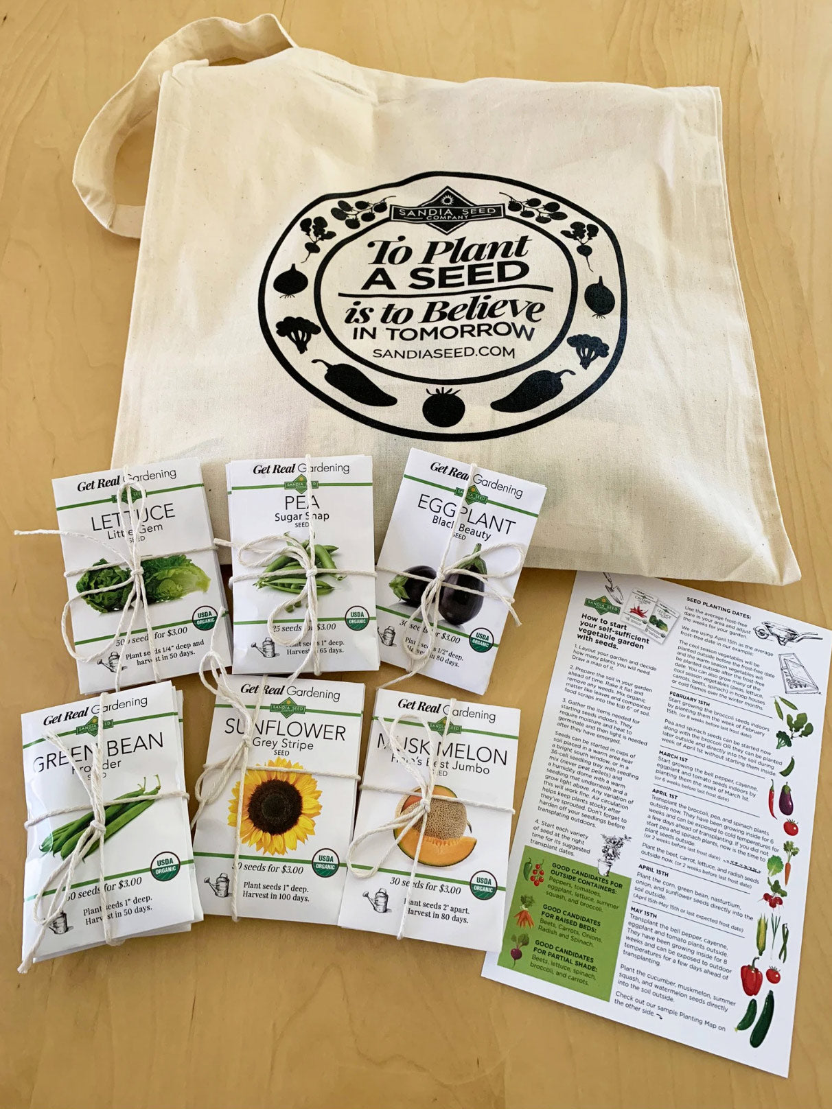 Salad Garden Kit - with 20 Organic Vegetable Seeds and a Tote and Growing Directions