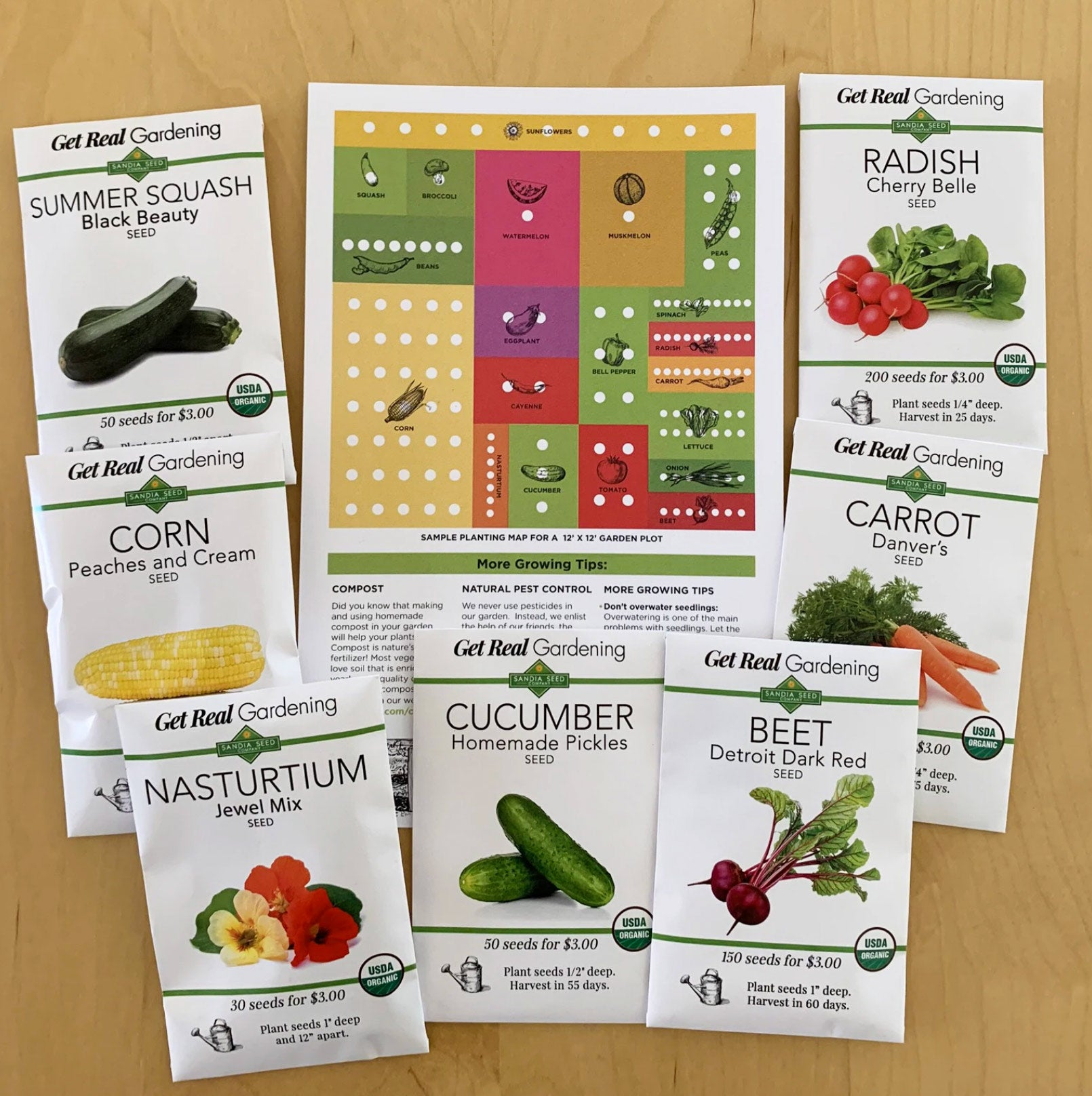 Salad Garden Kit - Grow Organic Vegetables from Seed for your Salads