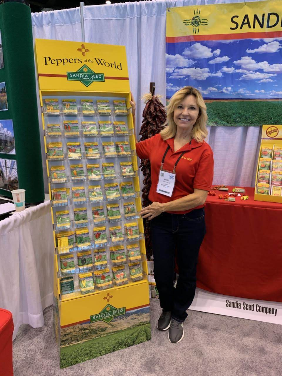 Patsy, owner of Sandia Seed at the Independent Garden Center Association Show in Chicago