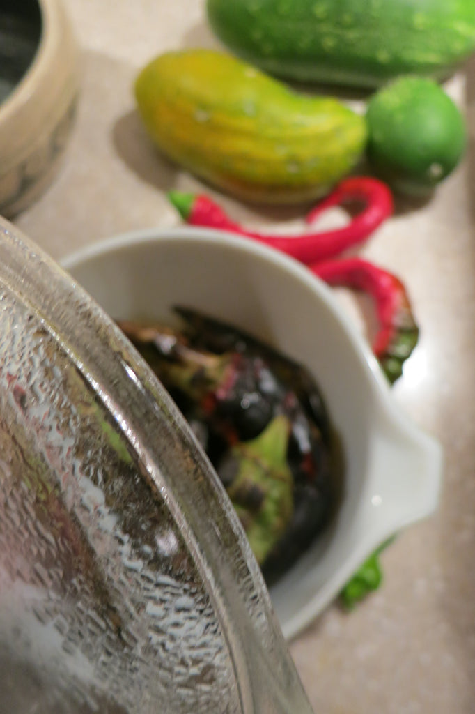 Zero Waste Gardening - Steam roasted chiles in a Pyrex glass dish with a glass lid!
