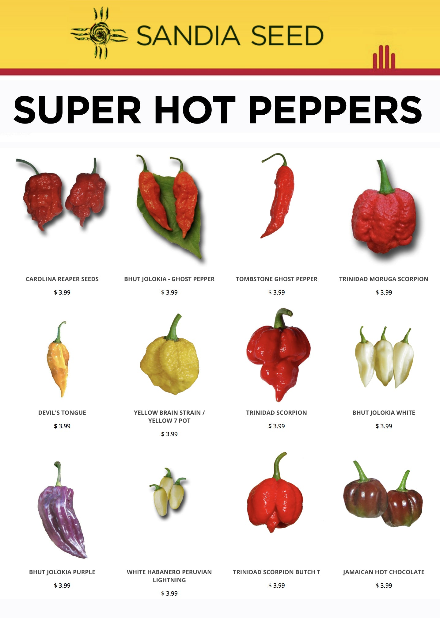 Small Seed Company for Super Hot Peppers - Sandia Seed