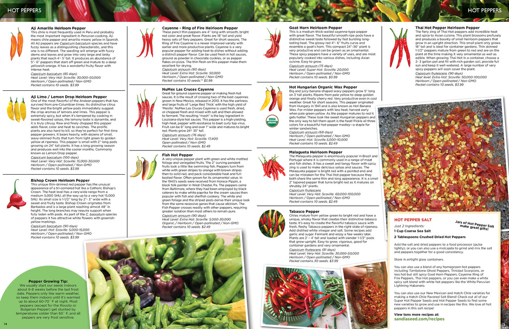 Organic Seed Catalogs - Pepper Seeds