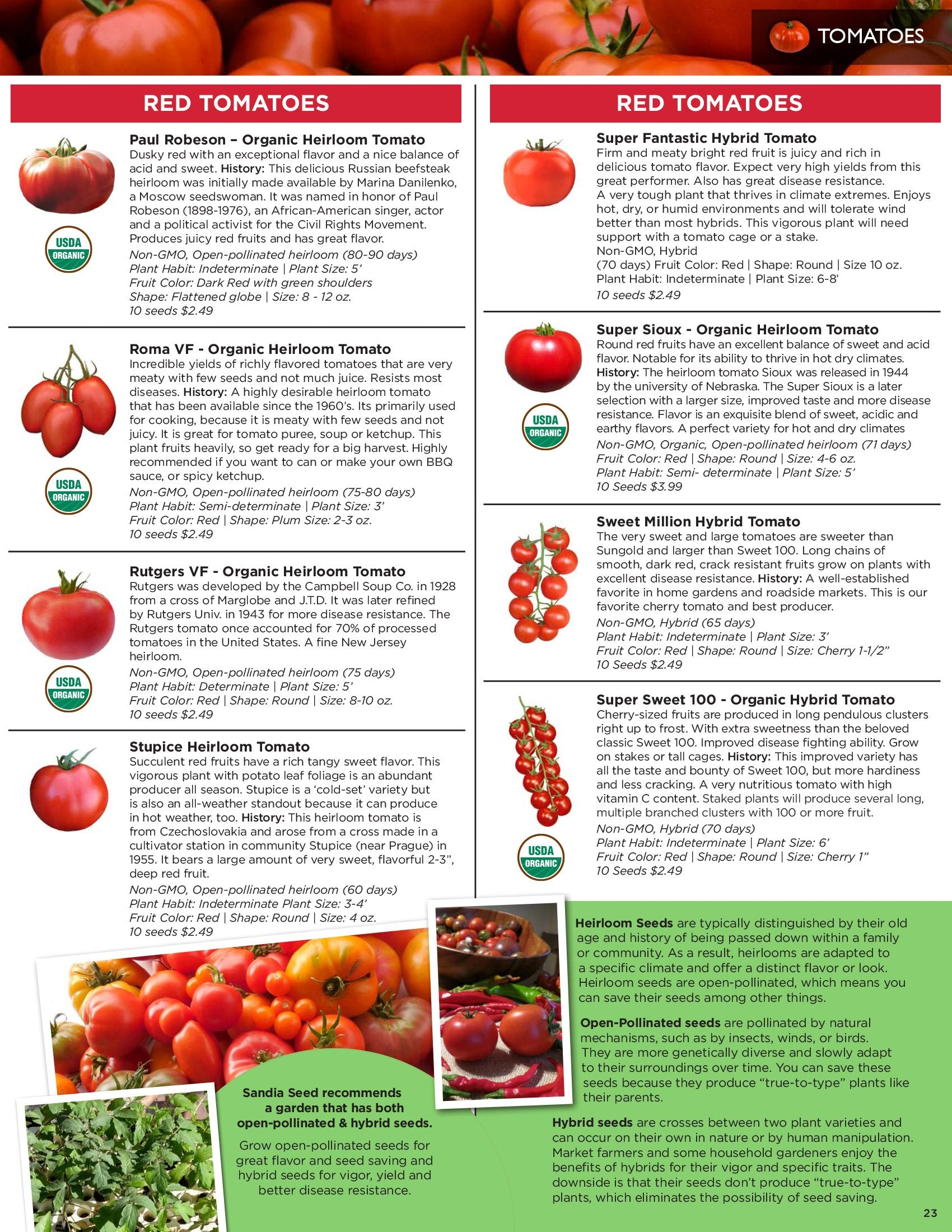 Sandia Seed Catalog: Heirloom Tomato Seeds