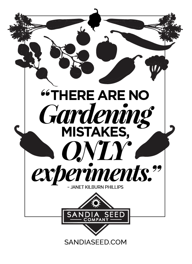 """Gardening Quotes: """"There are no Gardening mistakes, only experiments"""""""