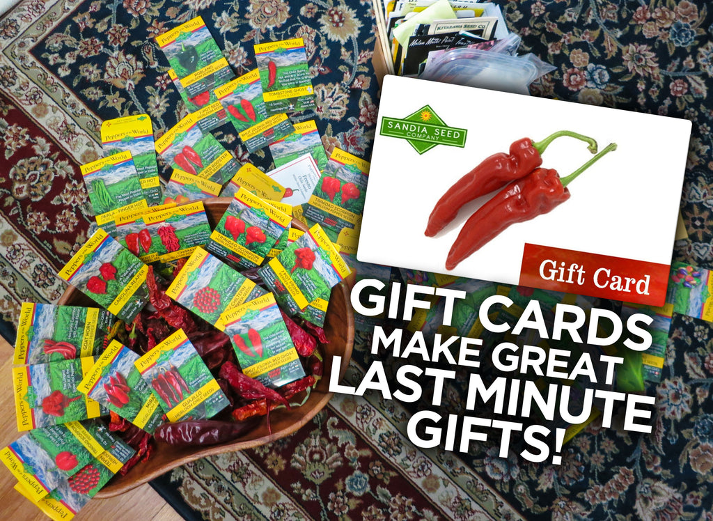 Presents for Gardeners - Gift Card for Seeds are great for last minute gifts