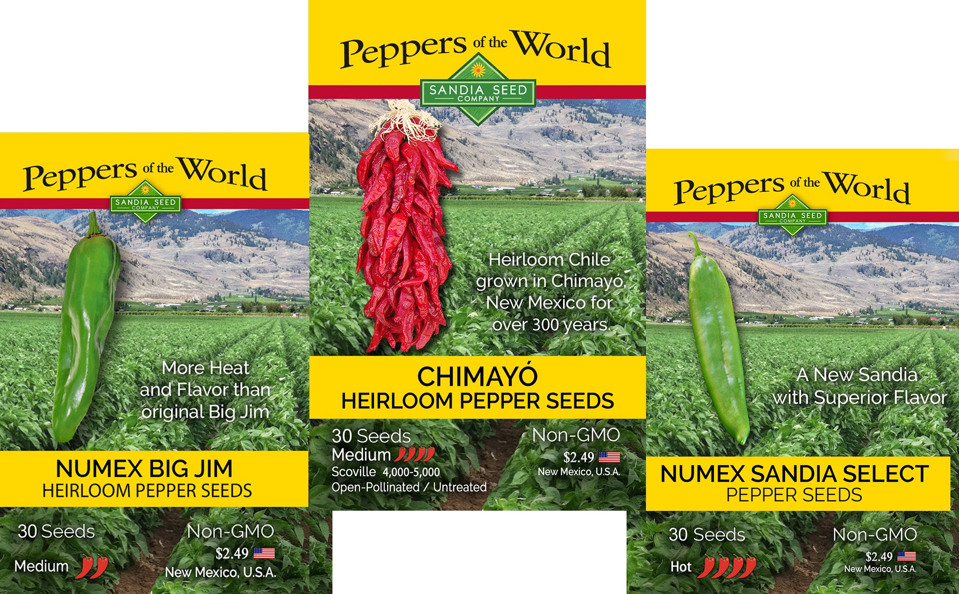 Seed Discounts - 3 PACK - BIG JIM, CHIMAYO & SANDIA - GREEN CHILE SEEDS