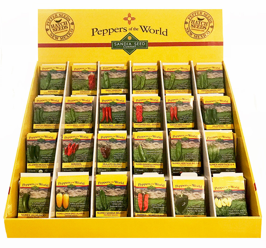 Popular Pepper Seed Assortment Wholesale - 24 Pepper Varieties - 144 packets - Sandia Seed Company