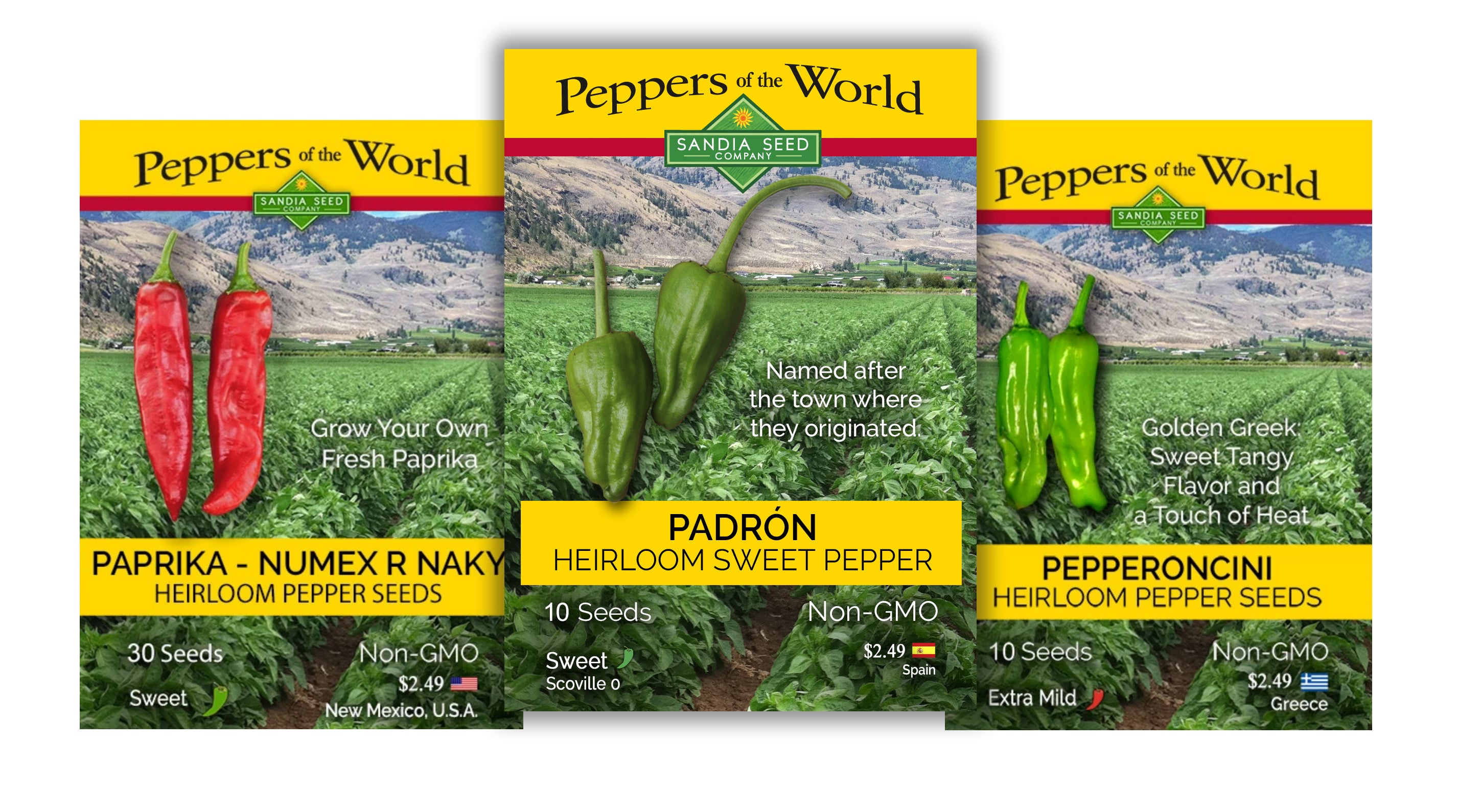 Discount Seeds - CHEF'S 3-PACK: PADRON, PAPRIKA AND PEPPERONCINI SEEDS
