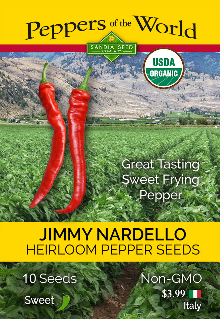 Jimmy Nardello Sweet Pepper Seeds ORG - Sandia Seed Company