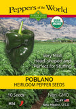 Poblano - Heirloom Pepper Seeds ORG - Sandia Seed Company