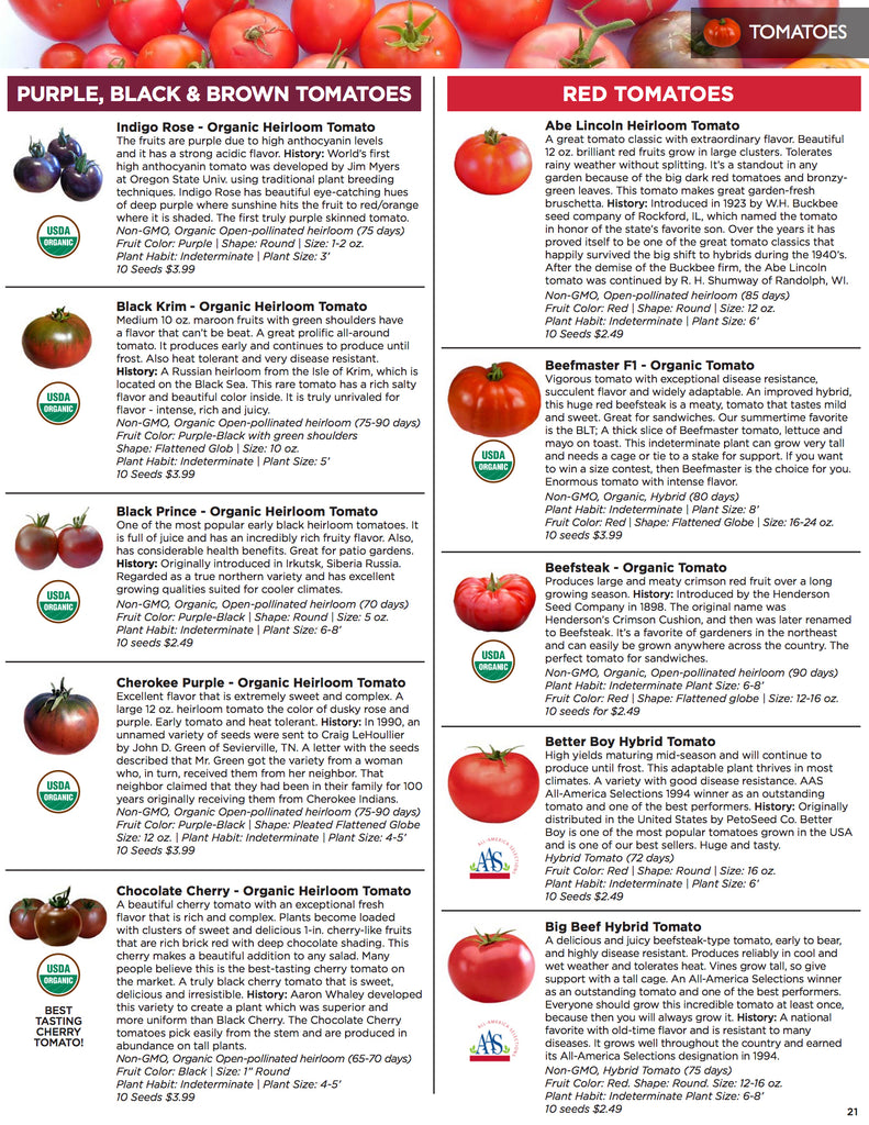 Seed Catalog - Heirloom Tomato Seeds