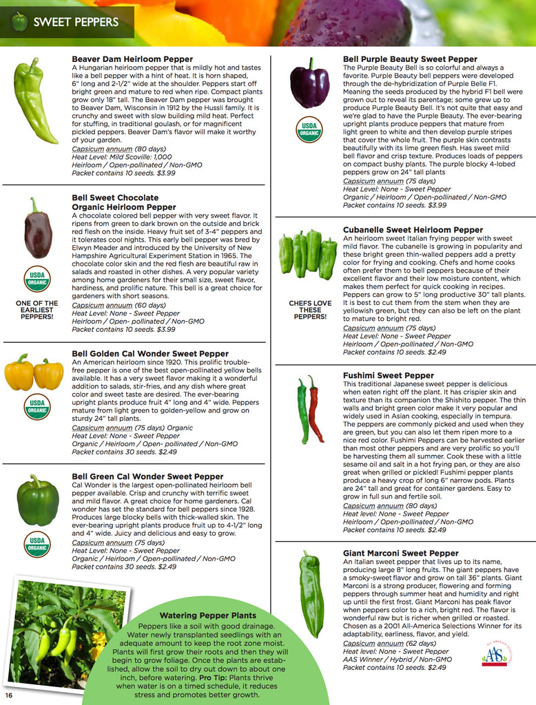 Seed Catalog - Sweet Pepper Seeds from around the world