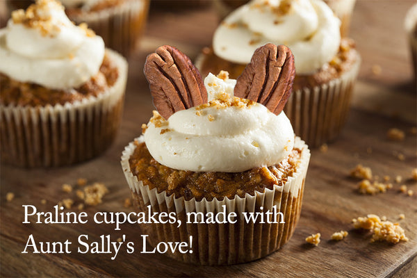 Praline cupcakes, made with Aunt Sally's Love!