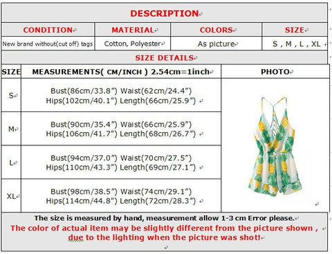 Pineapple Romper Sizing