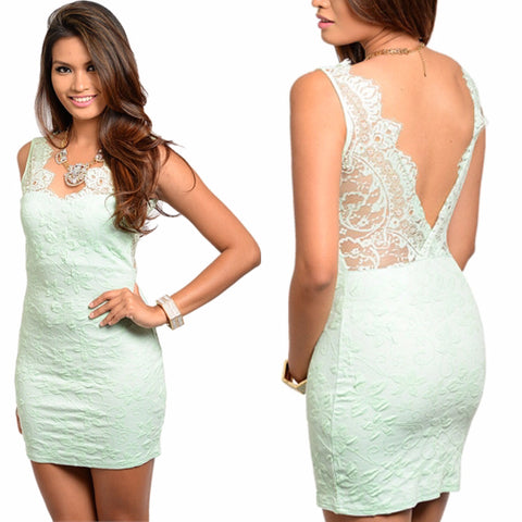 Mint and Lace Mini Dress