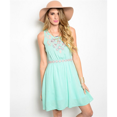 Embroidered Mint Dress