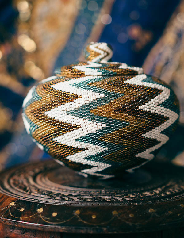 Ubud Beaded Wicker Basket