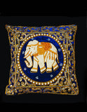Blue Velvet Elephant Cushion Cover