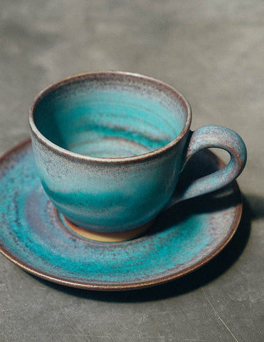 Blue Waves Espresso Cup + Saucer