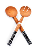 Kenya Olivewood Salad Servers with Polkadot Bone Handle