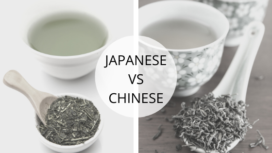 Japanese and chinese green tea