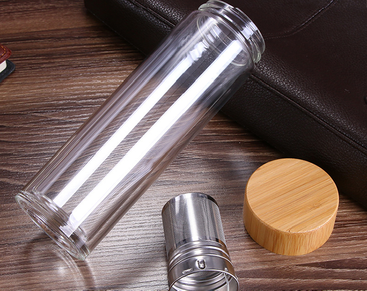 Glass and Bamboo Tea Tumbler