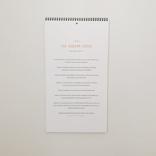 The Auburn Creed | Wall Calendar