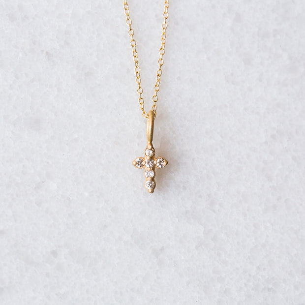 The Tiny Diamond Cross 14 Karat | Necklace