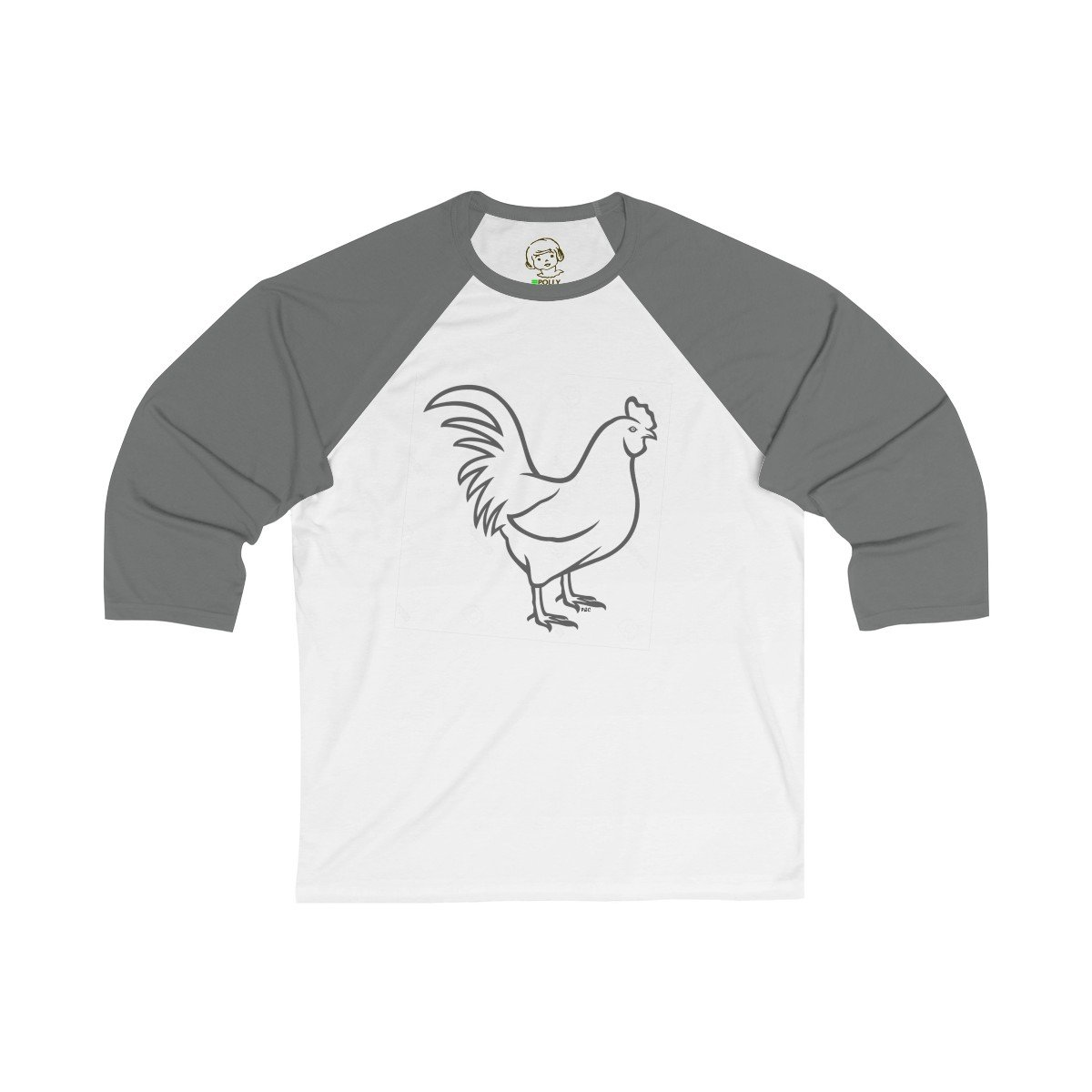 The Black Cock - Unisex 3/4 Sleeve Baseball Tee , Long-sleeve , Polly & Crackers Apparel